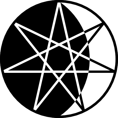 A drawing of a black circle with a seven pointed star inscribed. Most of the background is black with the right portion white, forming a crescent moon. The lines forming the star are white over the black background and black over the white portion.